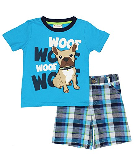 Buster Brown Boys Top and Shorts Set (3T, Blue Woof Woof) (Sixties Outfit)
