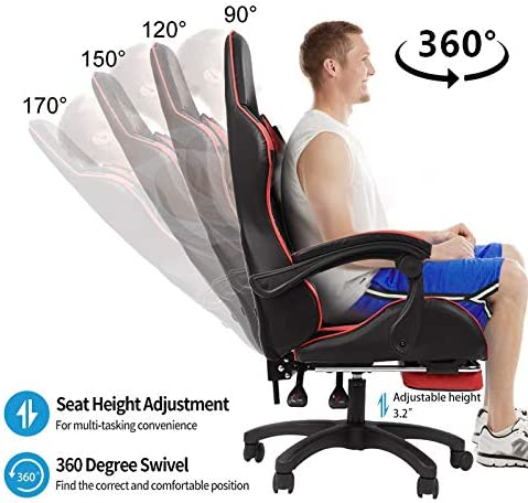 Aiwish Gaming Chair Racing Office Computer Game Chair E-Sports Chair Ergonomic Backrest and Seat Height Adjustment Recliner Swivel Rocker High-Back PC Computer Chair with Headrest and Lumbar Pillow 51K9oqQHwDL