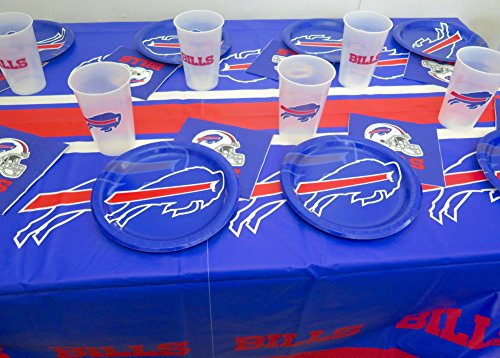 Buffalo Bills Football party 49 pieces set, Tablecloth, 16 plate, 16 napkins and large plastic 17 cups