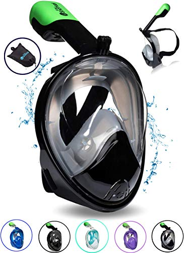 PRODIGY Full Face Snorkel Mask Adult Kids - 180° Panoramic Snorkeling Masks Gear for Adults and Youth - Easy Breathing SWIMTECH Dry Top Set, Anti-Leak&Anti-Fog- (Black w/GoPro- L/XL)