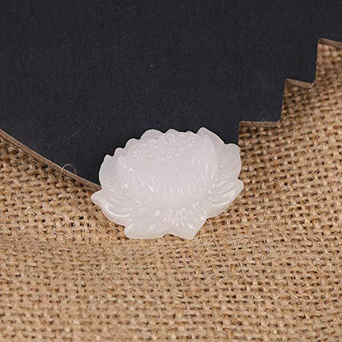 Dotted Unique Stone Natural Ethnic Flower Hand-carved Lotus Pendant White Jade