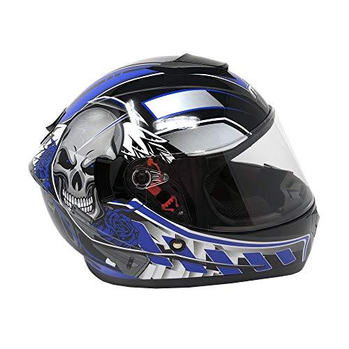 MYK Motorcycle Full Face Helmet - DOT Street Legal - SHINY BLUE SKULL (Large) Model 8301 (Vented Full Face Street Helmets)