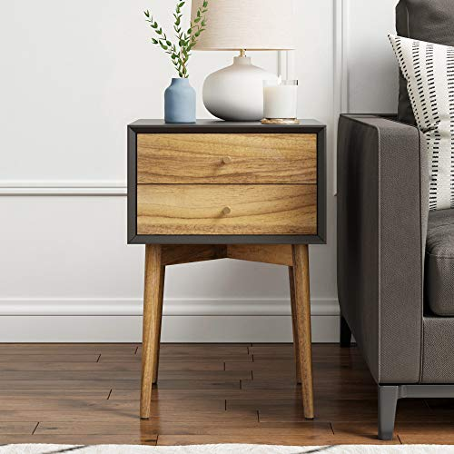 Nathan James 32703 Harper Mid-Century Side Table 2-Drawer, Wood Nightstand, Black/Brown (Table Wood Bedside)