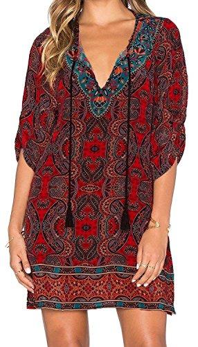 Shangke Women Bohemian Neck Tie Vintage Printed Summer Shift Dress