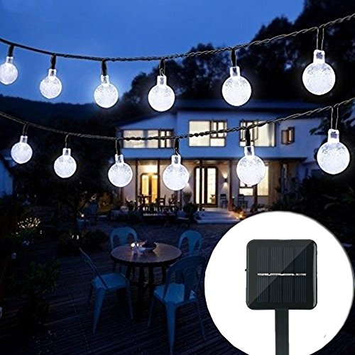 20Ft 30LED Solar String Light Crystal Globe Ball Waterproof for Garden Home Holiday Decorations, White