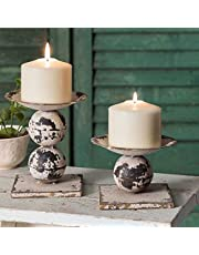 CTW Distressed Antiqued White Set of Two Spheres Pillar Candle Holders