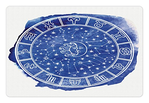Fantasy Dog Bed - Lunarable Sun and Moon Pet Mat for Food and Water, Zodiac Circle Watercolor Backdrop Astrology Divination Fantasy Mystic, Non-Slip Rubber Mat for Dogs and Cats, 18