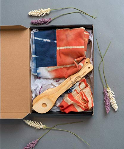 Apron gift set with wooden utensils