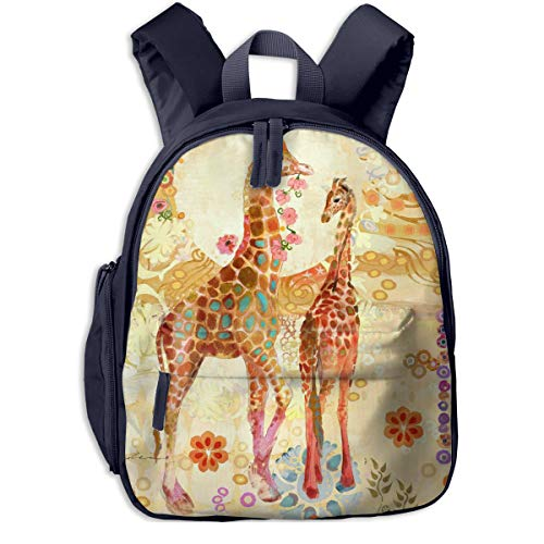 Judascepeda Girls Women Schoolbag Giraffes Art Print On Canvas Cartoon Bag Backpack Navy With Front Pockets For Youth Boy Girl