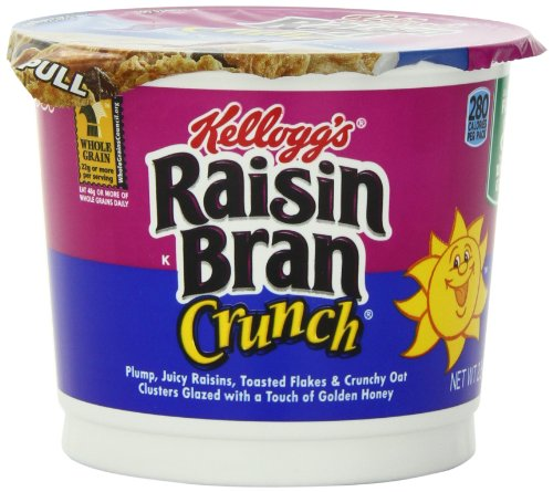 Kellogg's Raisin Bran Crunch Single Serve Breakfast Cereal Cups, 2.8-Ounce Cup (Pack of 12)