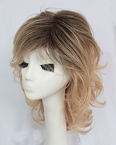 Hmy Medium Shoulder Length Side Bang Fluffy Curly Synthetic Graceful Brown Ombre Blonde Capless Wig for (Cheap Coloured Wigs)