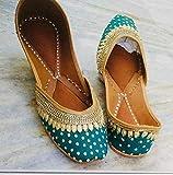 Green and Gold Women Shoes, Indian Ethnic Shoes, Women Mojaris, Women Khussa, Shoes With Silk Fabric