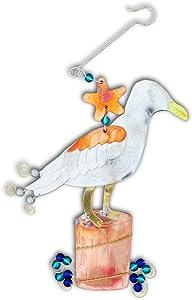 Pilgrim Imports Seashore Seabird Seagull Gull Bronze Nickel and Copper Hanging Ornament Garden Planter Handmade Gift Packaged