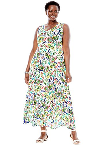 Woman Within Plus Size Sleeveless V-Neck Crinkle Maxi Dress, White Botanical Paisley, S