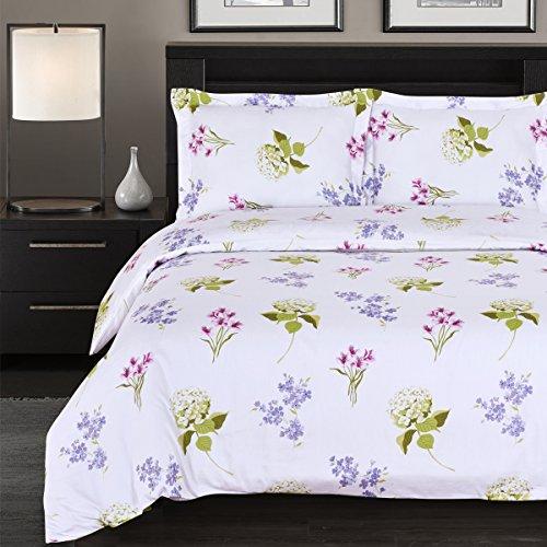 7-PCS Queen size Blossom Floral Print- includes 100% Cotton 4pc sheet set+ 100% Cotton 3pc Duvet cover set- 300TC single ply yarn (300tc Single)