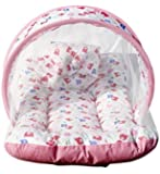 Baby Mosquito net for Babies, Bed Cotton - Padded Pillow Infant Mattress Portable Tent Sleepwear Pink Color