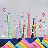 Amaonm Removable 3D Creative Cartoon Colorful Animals Giraffe Wall Decals Kids Rooms Stickers Rainbow Multicolor Giraffe Wall art carft Decor Wallpaper for Nursery Room Living room
