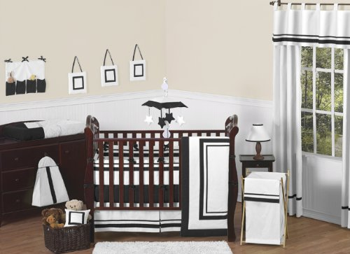 Sweet JoJo Designs Baby/Kids Clothes Laundry Hamper for White and Black Hotel Bedding