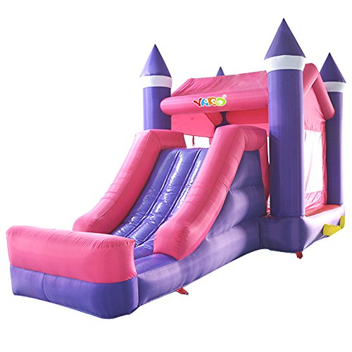 Rainbow Bounce House (YARD Princess Inflatable Slide Bounce House with Roof for Kids Party Jump House)