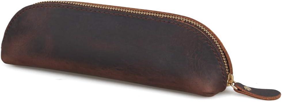 WOOWA - Estuche de piel auténtica, tamaño pequeño, hecho a mano, con cremallera, diseño retro de papelería (marrón oscuro)
