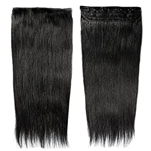 Kabello Clip On 100grams Real Human Hair Extensions 1 pcs with 5 Clips Instant Volume And Thickness Straight (16 inch…