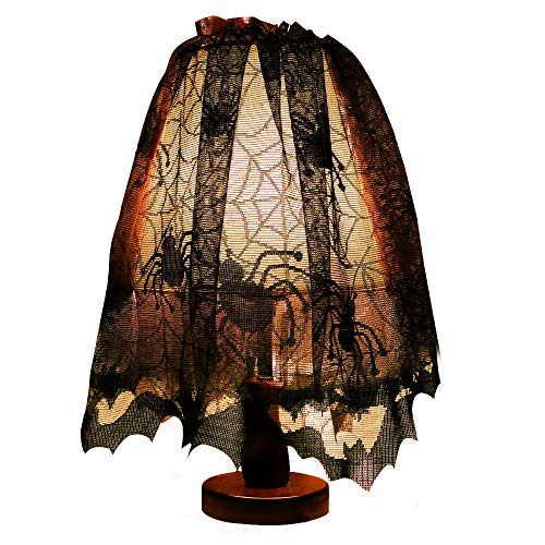 Lewondr Halloween Lace Lamp Shade, Mysterious Spider Web Bat Lamp Cover Fireplace Mantle Scarf Door Window Curtain DIY Material, Halloween Party Decor with Fixed Ribbon 60