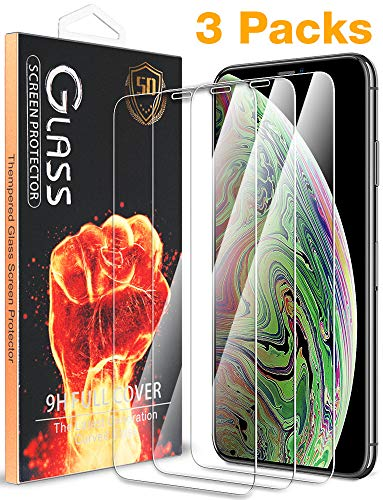 [3 Pack] for 6.5 Apple iPhone Xs Max Screen Protector, [Case Friendly] [High Definition] Full Coverage Premium Tempered Glass with Lifetime Replacement Warranty by Fnova