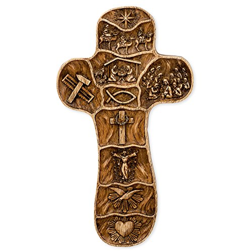 Roman Embossed Wall Cross with The Scenes from The Life Story of Christ, 8-Inch, Wood (Christ Wood Cross)