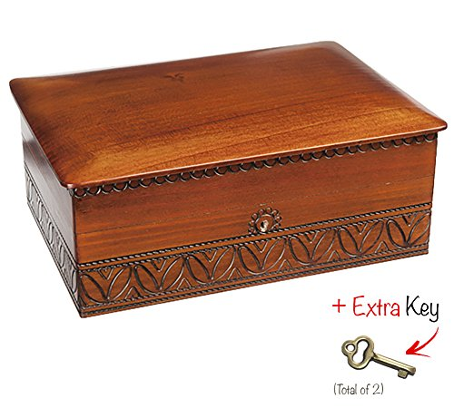 EXTRA LARGE WOODEN BOX w/ Lock and Key Polish Handmade Jewelry Keepsake