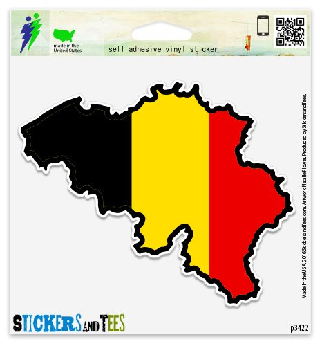 "Belgium Map Flag Vinyl Car Bumper Window Sticker 3"" x 2"""