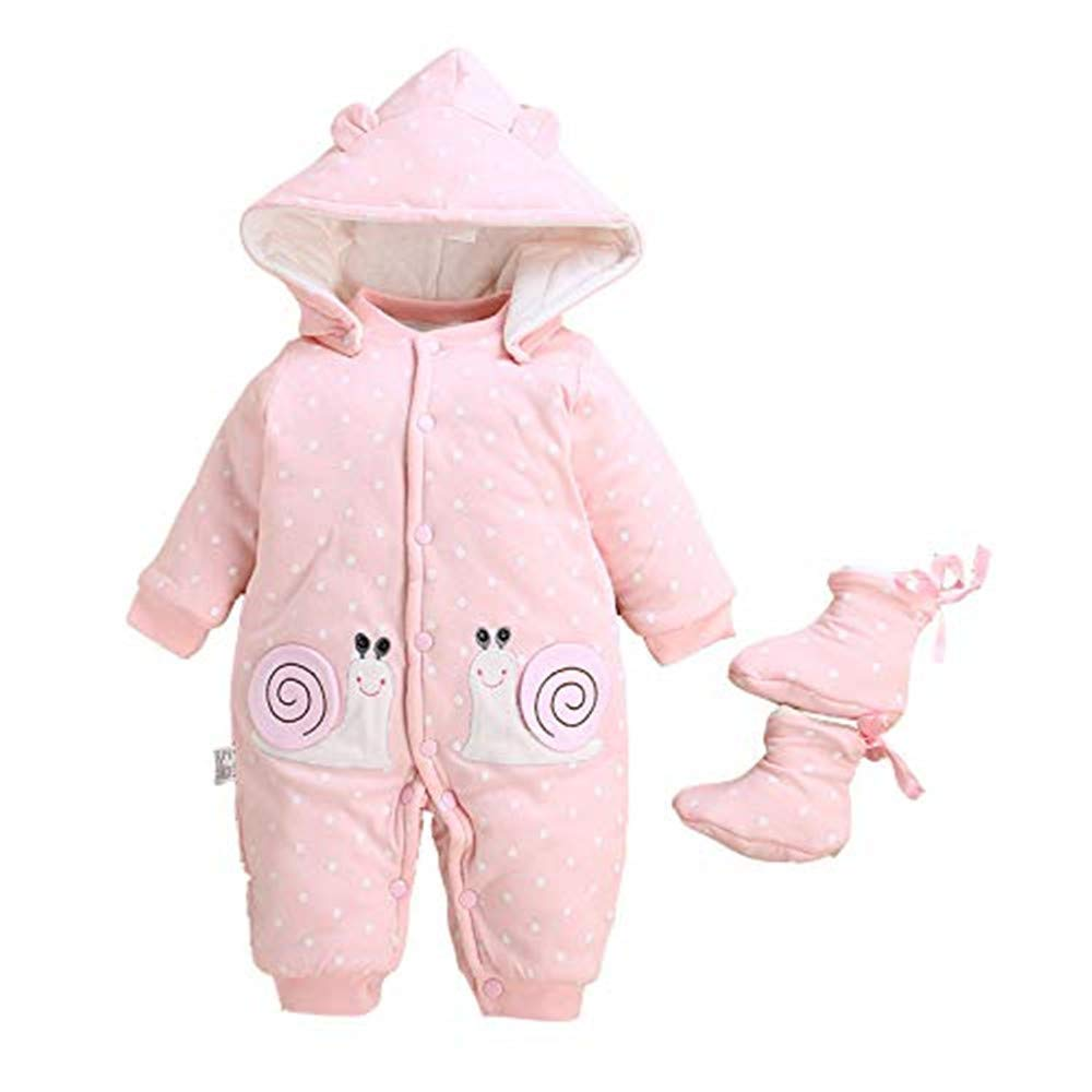Infant Baby Girl Romper, Baby Girl Winter Clothes Detachable Hood& Shoes Pink