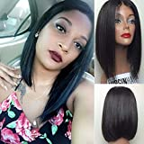 Eayon Hair 7A Short Bob Human Hair Lace Front Wig Brazilian Virgin Glueless Silk Straight Hair Wigs with Baby Hair for Black Women Natural Color (12 inch, 150 Density)