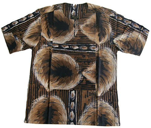 Allswell Men's Cotton Batik Leafy Shirt Black with Brown Medium ()