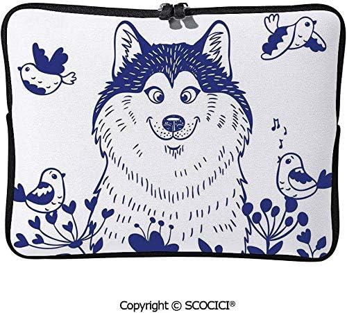 歌う鳥と満開の春の野に幸せな犬と コンピューターバッグ PCケース 防水 大容量 ウェアラブル ユニセックス 学校 ブリーフケース 15inch