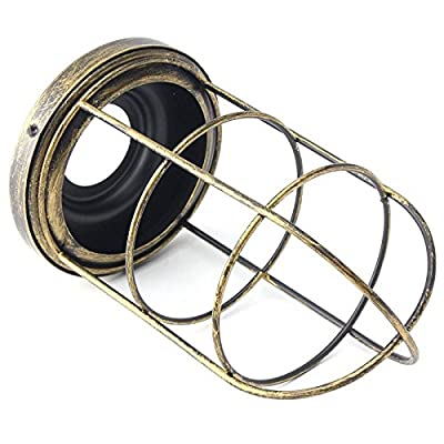 105x200mm Iron Edison Vintage Retro Lampshade Ceiling Light Fitting Lamp Guard Wire Cage Bar Cafes Decor Lamp Cover Lamp Base (Gold)