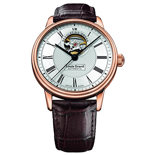 Louis Erard Men's Heritage 40mm Brown Leather Band Rose Gold Plated Case Automatic Watch 60266PR41.BRC80