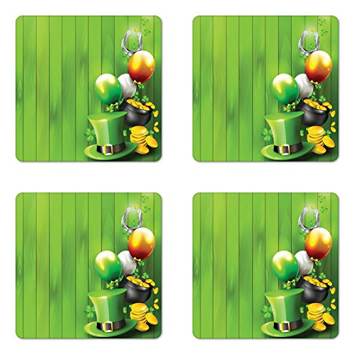 Ambesonne St. Patrick's Day Coaster Set of Four, Wood Design with Shamrock Lucky Clovers Pot of Gold Coins and Horse Shoe, Square Hardboard Gloss Coasters for Drinks, Fern Green