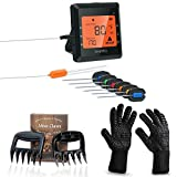 Digital Meat Thermometer Probe and Grilling Set – Wireless Instant Read Meat Thermometer for Smoker, Grill, Oven – 6 Stainless Steel Probes, Cell Phone App + BONUS Complete BBQ Tools Kit by Easy BBQ