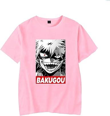 Camiseta para Hombre My Hero Academia De Manga Corta BAKUGOU Estampada Informal Camisa De Polo Suelta Camiseta Sudadera Superior