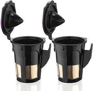 BRBHOM 24K Gold Reusable 2.0 K-Carafe Refillable K cup Reusable Coffee Filters for Keurig 2.0 K200 K300, K400, K500 Series (Black)