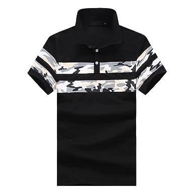 c591702eab7ddd Mens Polo Shirts Camouflage Printed Short Sleeve Cotton Classic Slim Fit  Golf Tennis T-Shirt