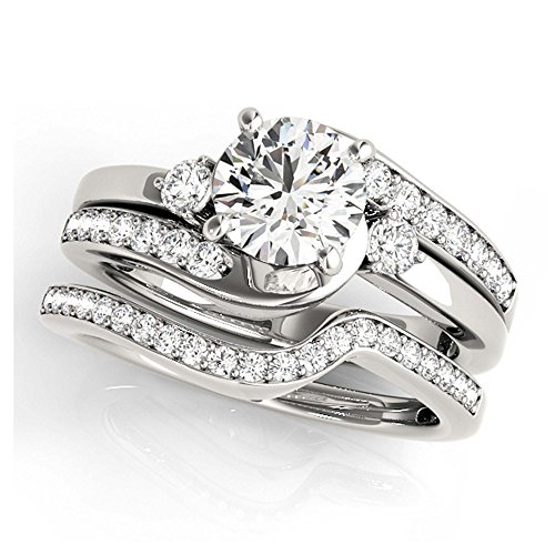 14K White Gold Unique Wedding Diamond Bridal Set Style MT50813