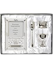 Beautiful Boxed Silver Plated Christening Day Gift Set - 4-Piece, Includes Egg Cup, Spoon, Baby Photo frame, Napkin Ring in Presentation Gift Box.