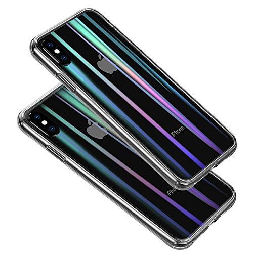 iPhone XS ケース 虹色レーザー オシャレ 強化ガラスケース アイフォンX クリアケース 硬度9H 耐衝撃 全面保護 透明カバー ワイヤレス充電対応 薄型 傷防止 Rssviss【アイホンX/XSに対応、5.8in】