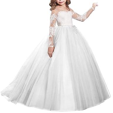 f11702635f6b7 IWEMEK Robe de Filles Première Communion Manches Longues de Demoiselle  d honneur Dentelle Soirée Princesse