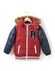 Abcd'r Boys Two-Tone Teddy Style Padded Jacket With Detachable Hood