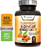 Turmeric Curcumin Highest Potency 95% Standardized with BioPerine and Ginger 1950mg - Black
