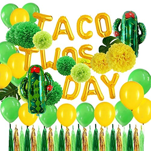 Minion Centerpieces Ideas (Green and Gold Taco Twos Day Foil Cactus Balloons Tissue Pom Poms Flowers Tassel Garlands Set for Fiesta Toddler Second Birthday Taco Party)