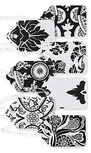 (Boutique Strung Black and White Lace Paper Price Tag Assortment - 1 1/16