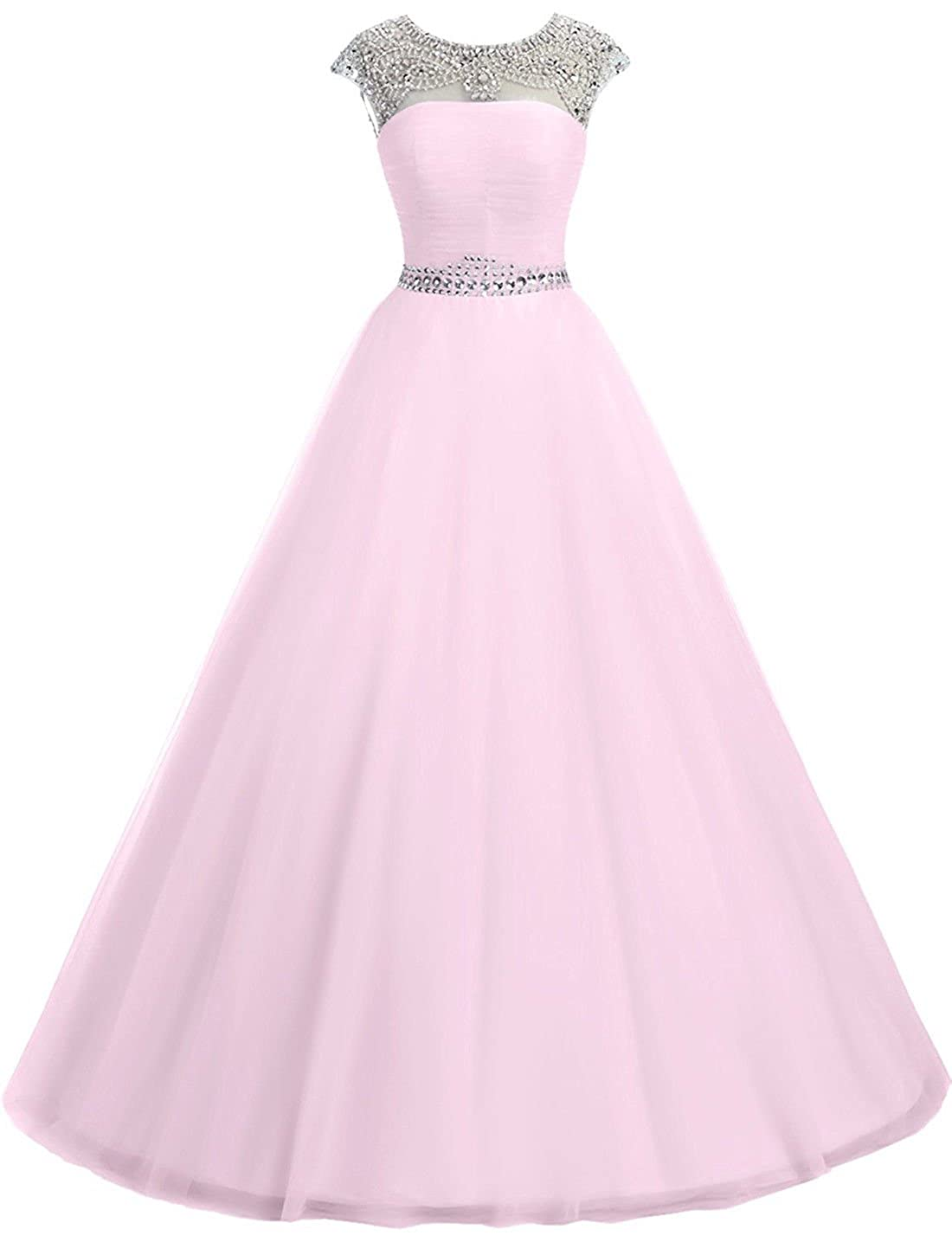 5639d55acc2 FIGHOUOR 2018 Illusion Neck Quinceanera Dress Tulle Crystal Beads Long Prom Dress  Custom Made at Amazon Women s Clothing store